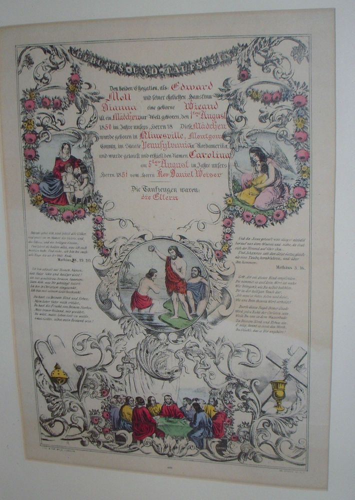 1850 Taufschein Geburts Antique Baptism Birth Certificate Fraktur N