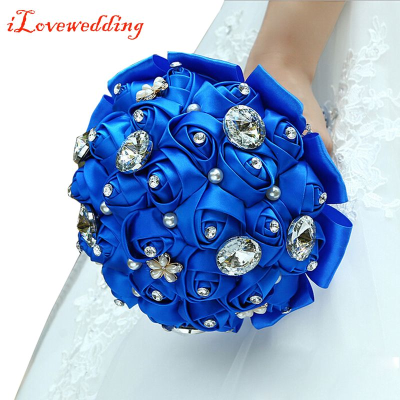Wedding Flowers Bridal Bouquet Prices: 2016 New Design Royal Blue Silk Roses With Rhinestone