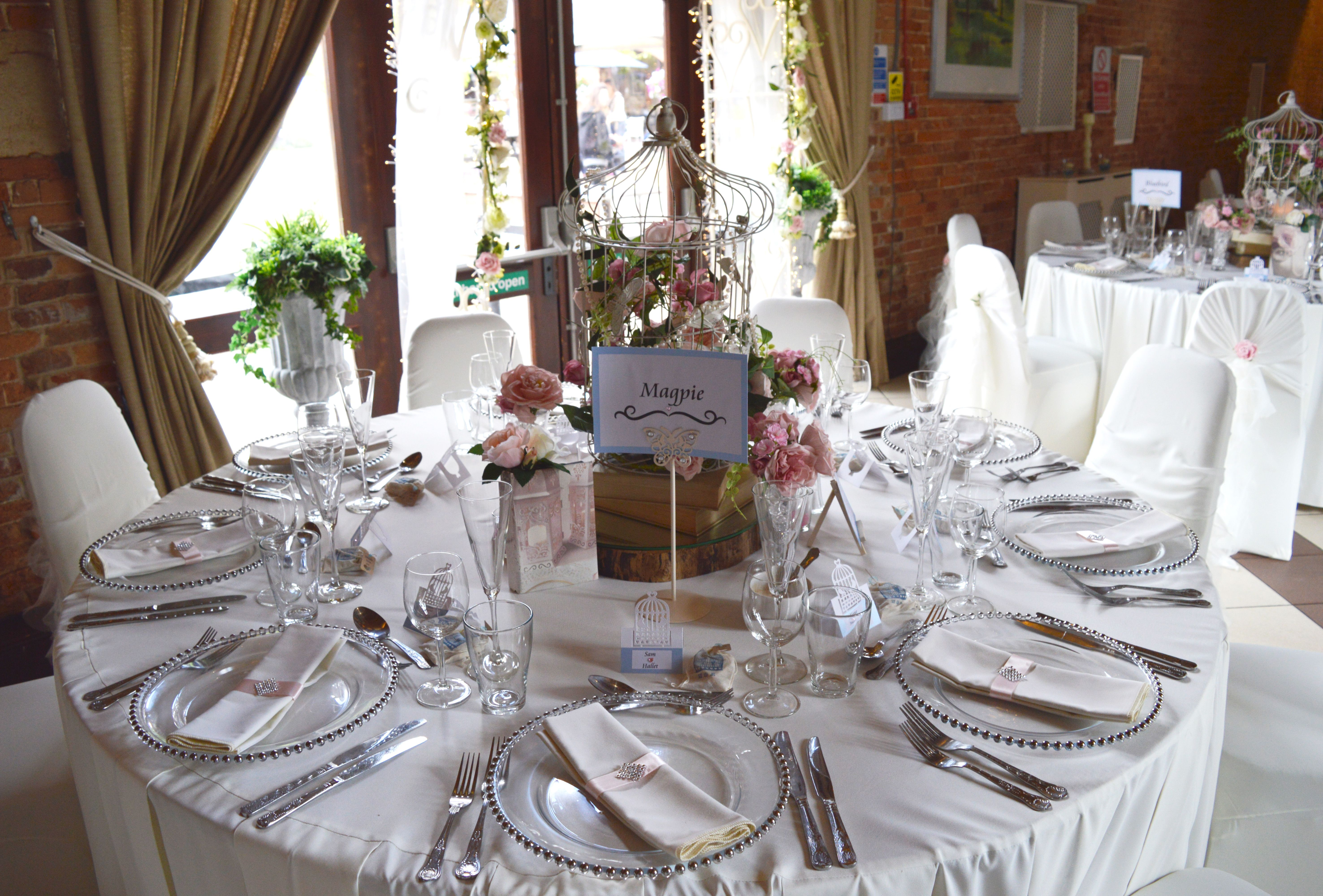 Shabby Chic Birdcage Table Setting With Pink Details Wwwelshamhalleventscouk