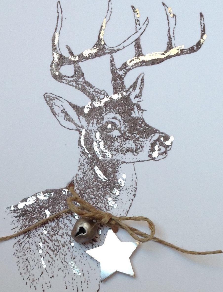 weihnachtskarte mit hirsch stempel von der alexandra renke. Black Bedroom Furniture Sets. Home Design Ideas