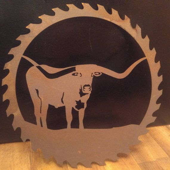 bd90fea5 Cow wreath, Saw blade Art, Wall decor, Livestock, Texas Longhorn ...