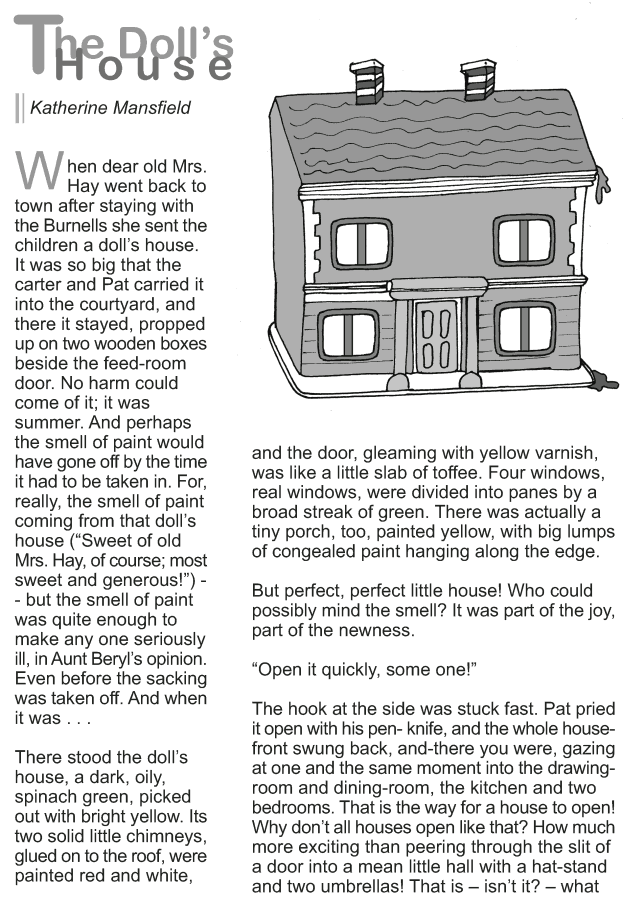 Grade 9 Reading Lesson 12 Short Storie The Doll House 1 Comprehension Essay