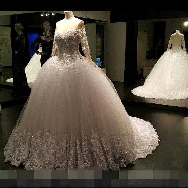 Find More Wedding Dresses Information about Elegant Dropped Ivory Ball Gown O Neck Beaded Lace Long Sleeve Wedding Dresses 2017 Princess Bridal Gown vestido de noiva ZSW117,High Quality vestido de noiva,China de noiva Suppliers, Cheap sleeved wedding from modest saying Lacebridal Store on Aliexpress.com
