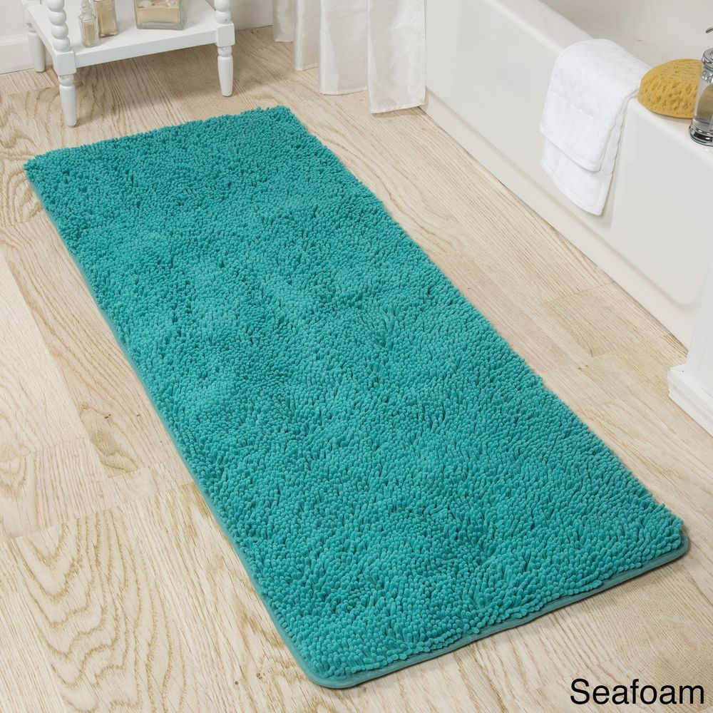 Memory Foam Shag Rectangle Seafoam Bath Mat With Non Slip Backing