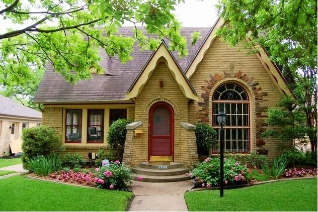 Charming Small Brick House With Burgundy Front Door And