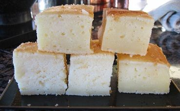 Butter Mochi cake is a Japanese rice cake made with rice flour. The texture is much different than the typical american cake.