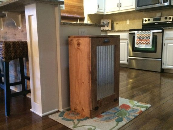 Rustic tilt out trash bin trash can with corrugated door Lovemade14