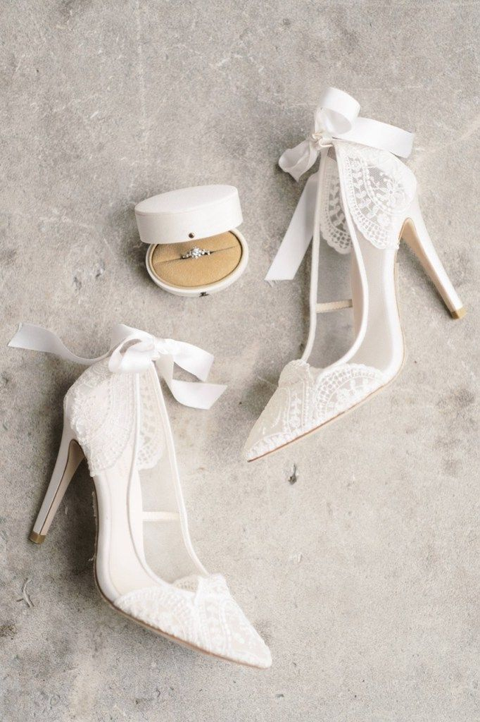 Claire Pettibone Lace Wedding Shoes - Flat Lay