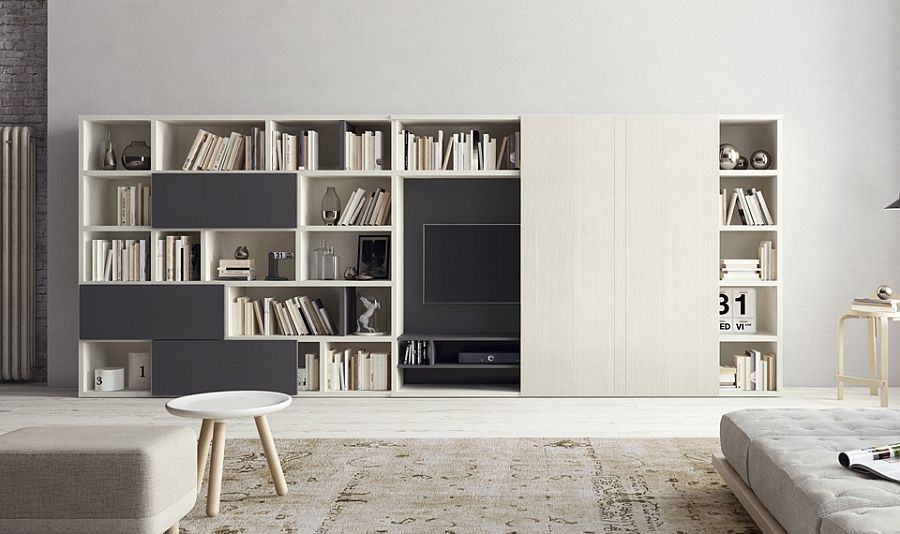 Living Room Wall Unit With Large E For Bookshelves And A Flat Screen Tv