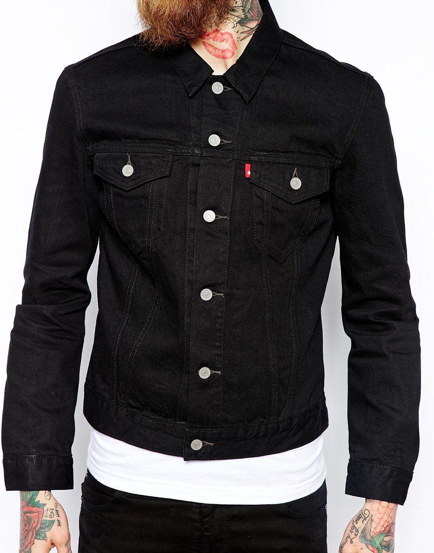 Levi S Denim Jacket Slim Fit Trucker Black Newsprint Wash At Asos Com Black Jean Jacket Black Denim Jacket Outfit Black Denim Jacket Outfit Men [ 1110 x 870 Pixel ]