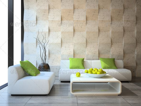 modern interior with concrete wall panels - Stock Photo - Images
