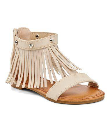 Another great find on #zulily! Beige Studded Fringe Sandal #zulilyfinds