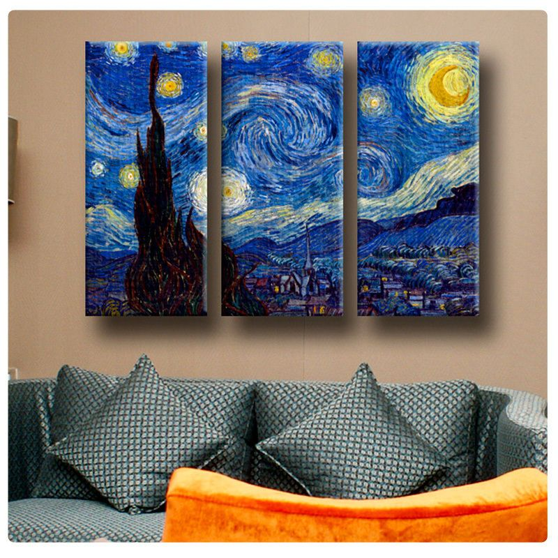 3 Panel Split Art World Map Canvas Print Triptych For: Details About NEW! Van Gogh The Starry Night 3 PANEL SPLIT
