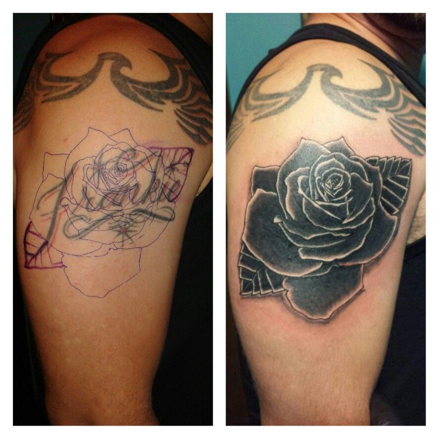 Extremamente Cover up a name with rose tattoo done by inkdonebypito | My  JL32