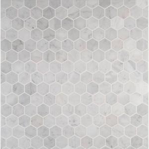Msi Carrara White Hexagon 12 In X 12 In X 10 Mm Polished