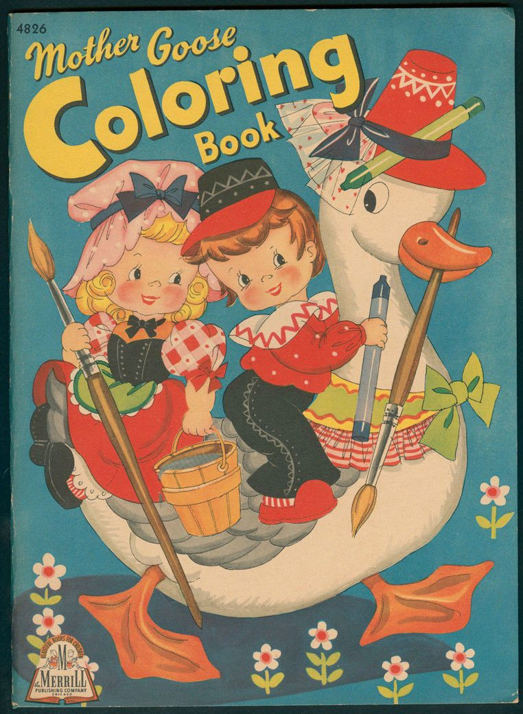 """Uncolored """"Mother Goose Coloring Book"""" 4826 Merrill 1943 5974 