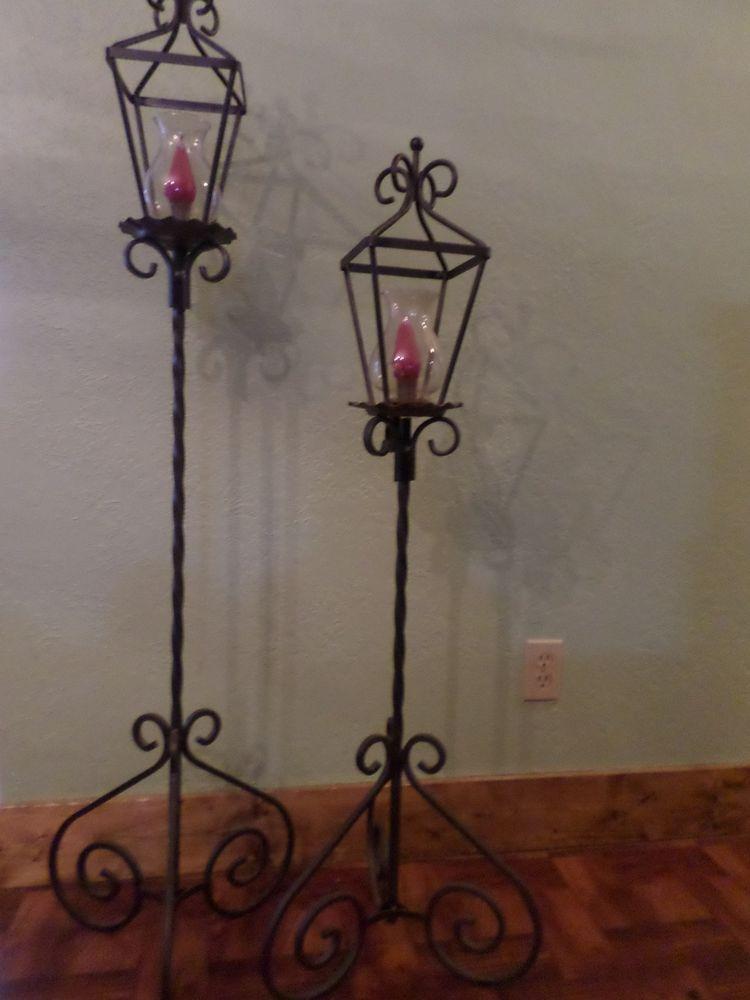 Amazing Set Of 2 Tall Vintage Cast Iron Floor Hurricane Lantern