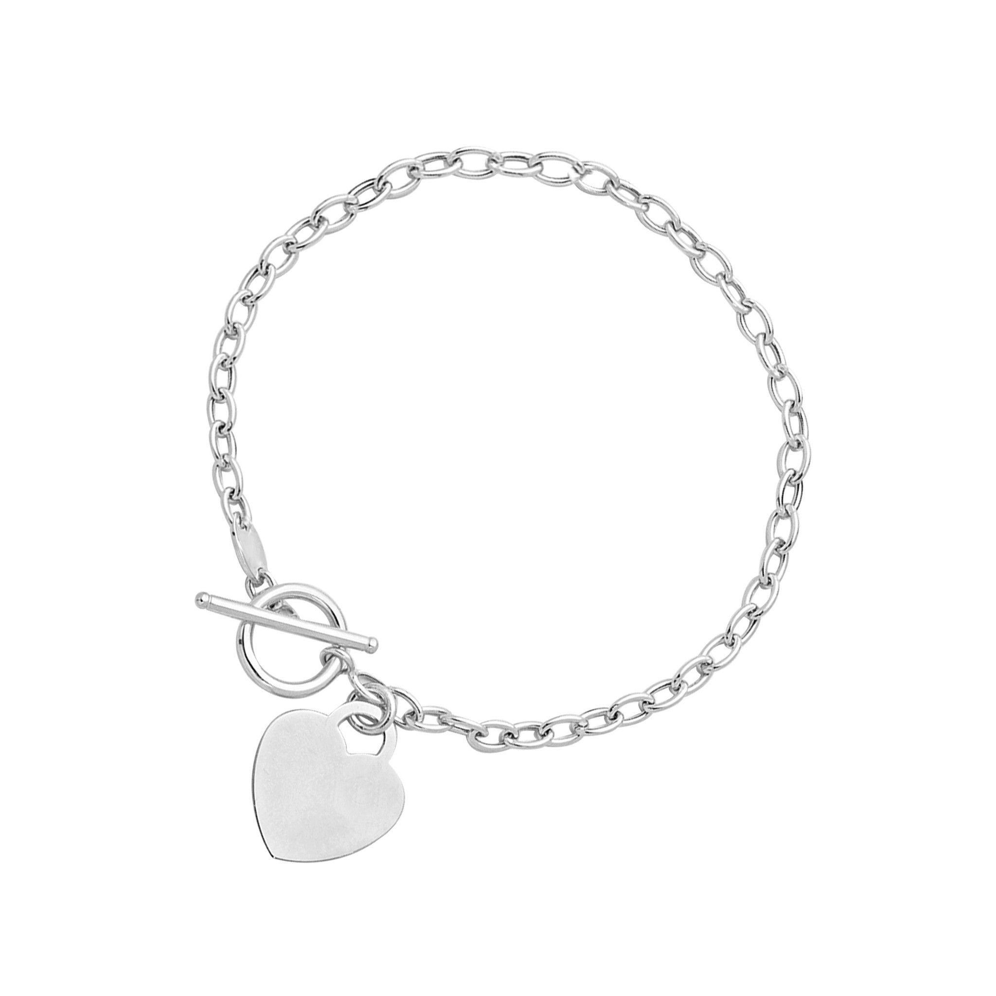 Toggle bracelet with heart charm in k white gold products