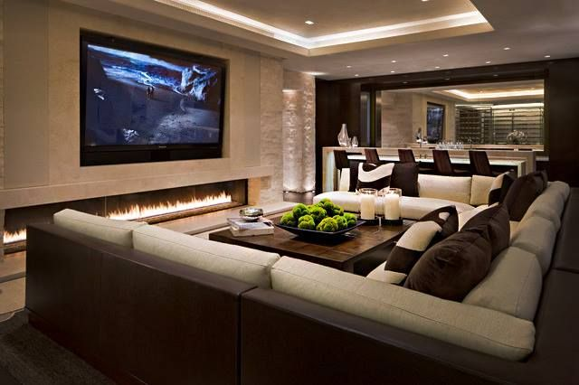 This Comfy Media Room Features A Large Fireplace Would You Love A