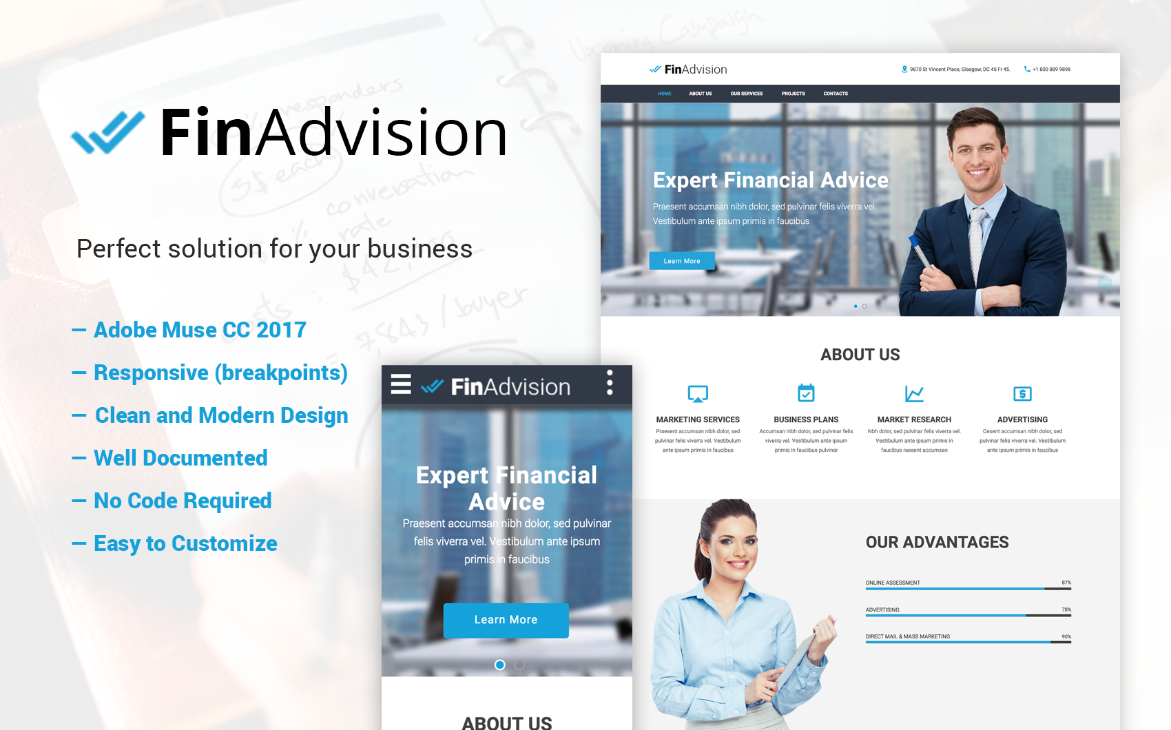 finadvision financial advisor adobe cc 2017 muse template