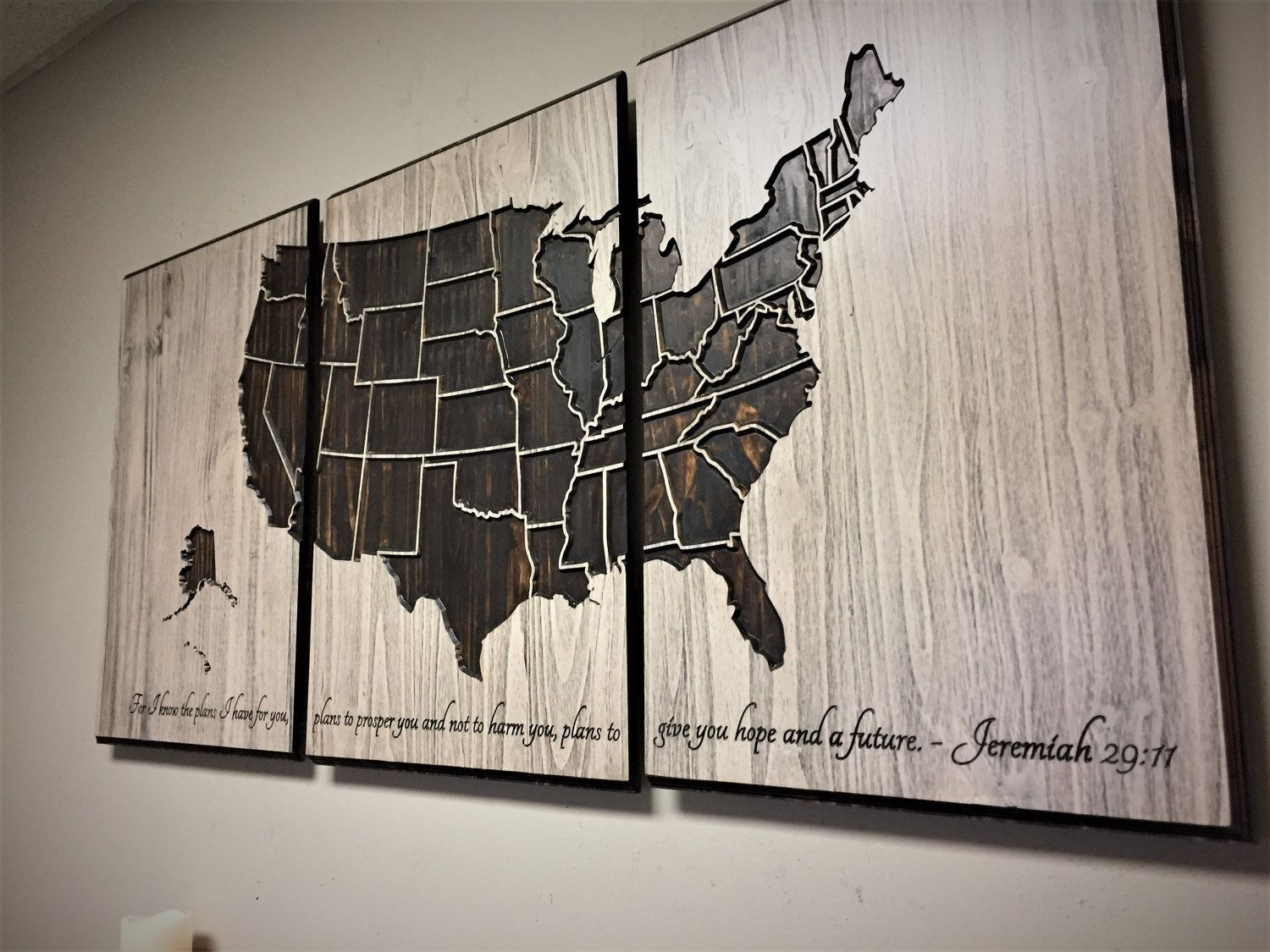 US Map Wall Art Wood Wall Art Push Pin Map  Panel Map Vintage - Us travel map push pin