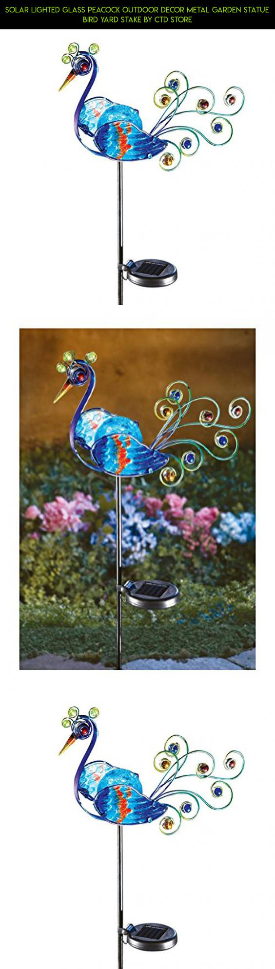 Solar Lighted Glass Peacock Outdoor Decor Metal Garden Statue Bird Yard  Stake By CTD Store #