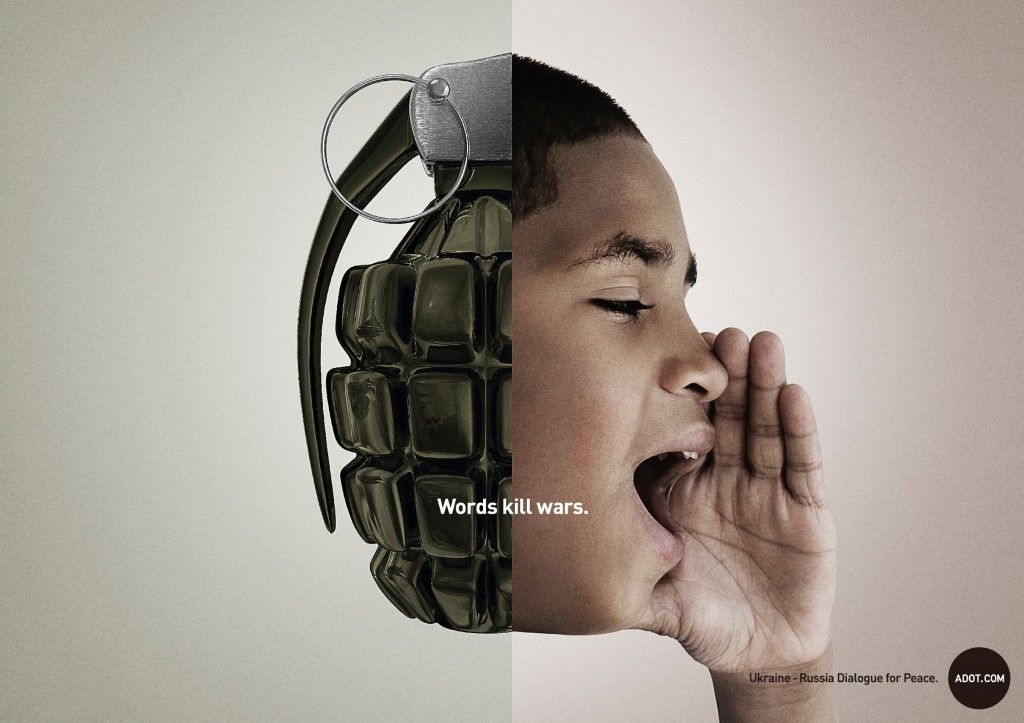 """""""ADOT.COM Words Kill Wars Campaign"""" by Ogilvy & Mather, Japan"""