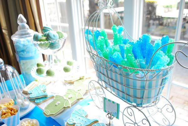 Green & Blue Baby Carriage
