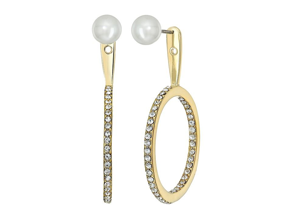 Kate Spade New York Shine On Pearl Hoop Ear Jackets Earrings Cream