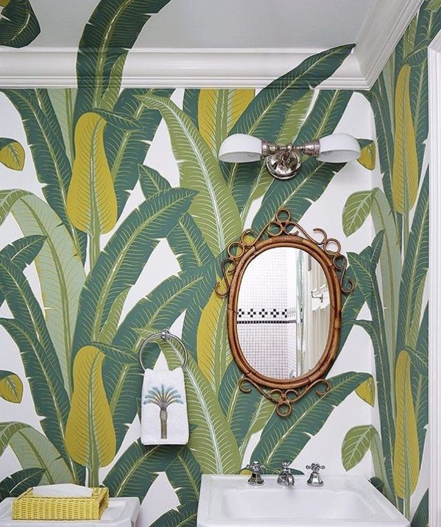 Tropical Wallpaper powder room tropical with contemporary