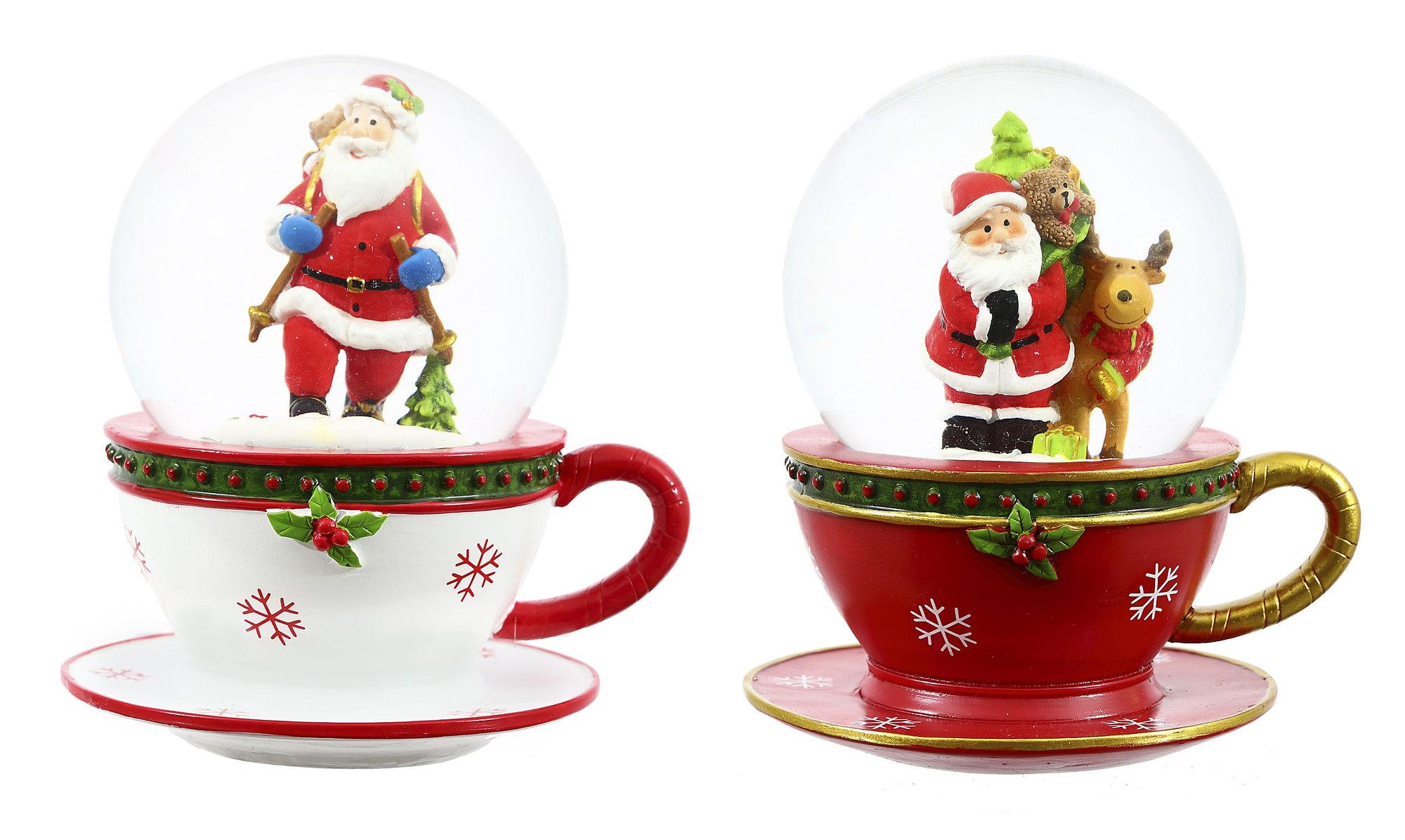 2 Piece Polystone Christmas Tea Cup Water Globe Set