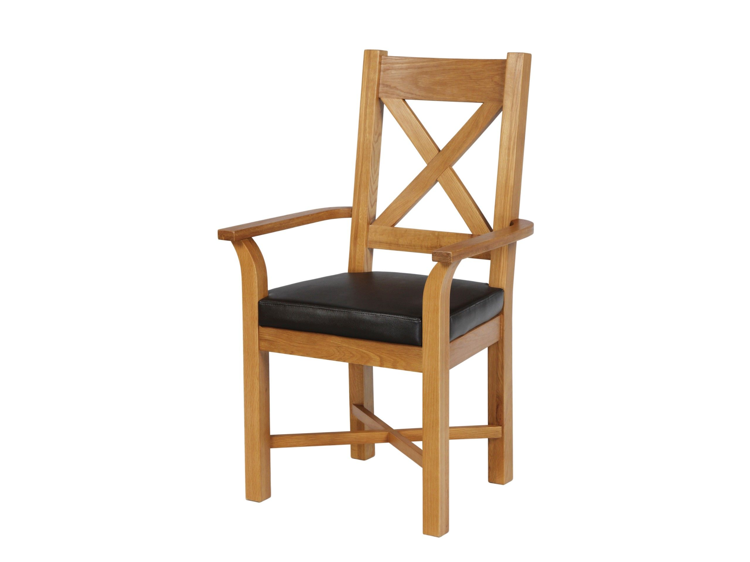 Solid Oak Carver Dining Chair With Arms And Brown Leather Seat