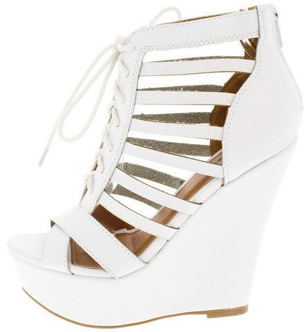 ecad0fb216be FINDER341 WHITE PU CAGED LACE UP PLATFORM WEDGE