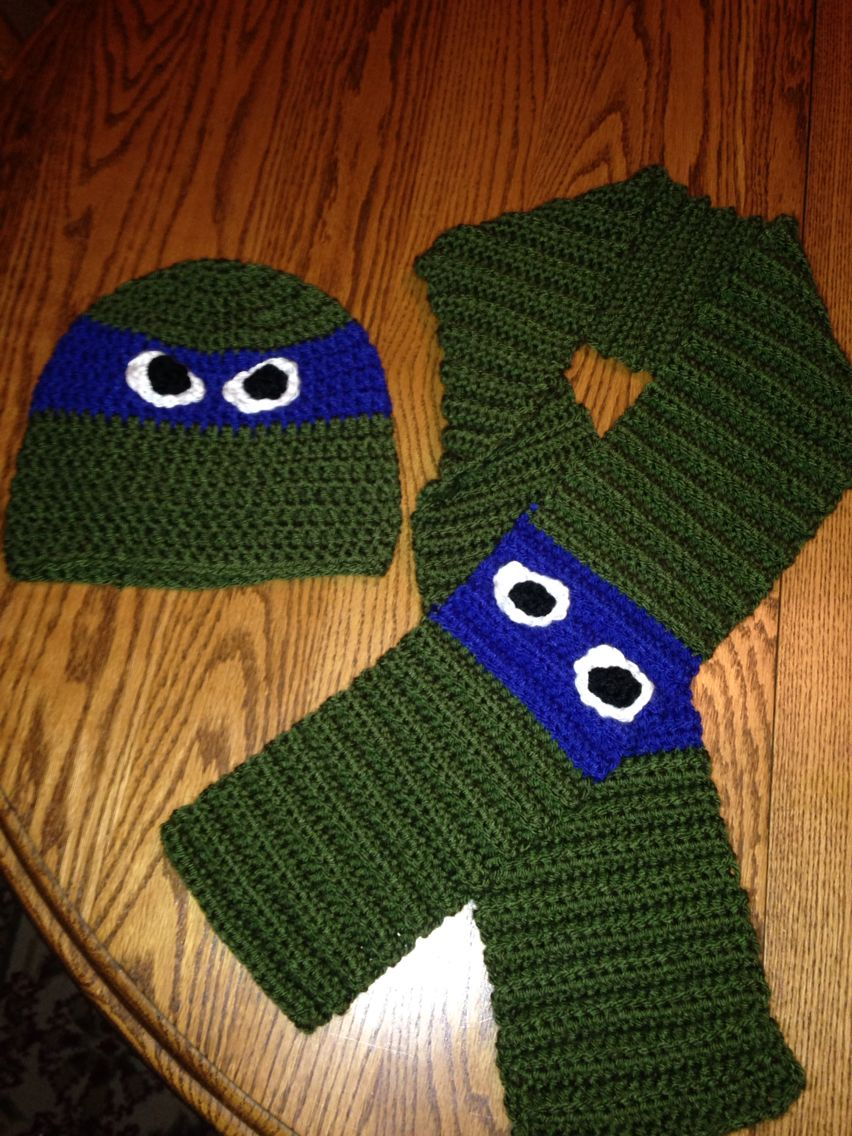 Ninja Turtle Hat & Scarf - The hat is a pattern I got from ...