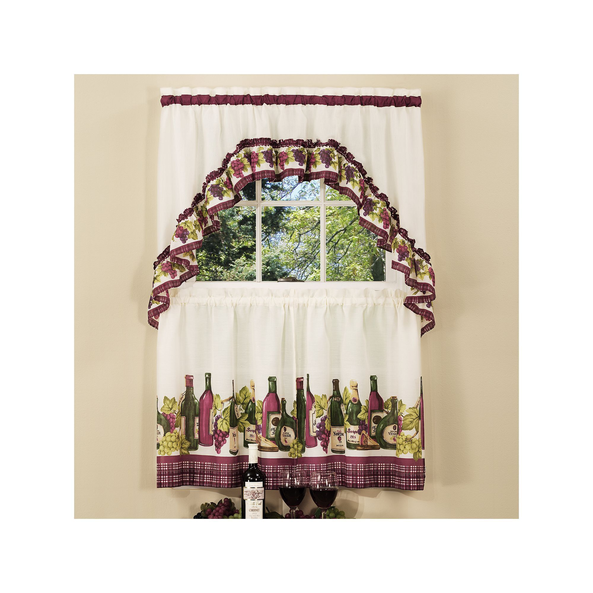 chardonnay wine bottle 3-piece tier swag kitchen window curtain set
