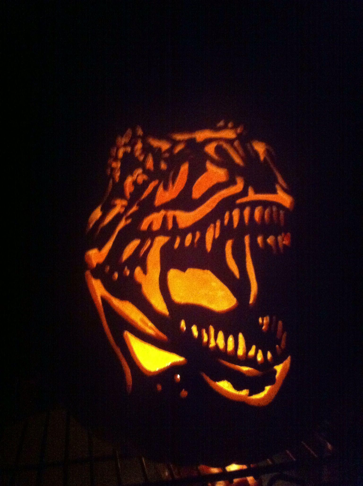 t rex pumpkin carving template  T-Rex pumpkin. | Pumpkin carving, Pumpkin, Pumpkin template