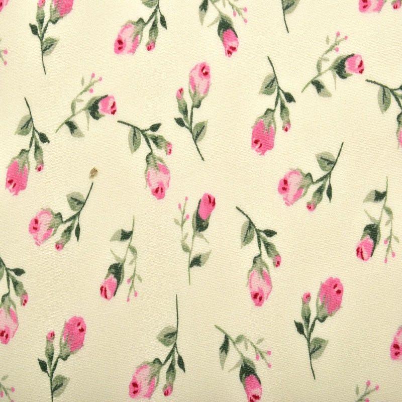 "100/% 45/"" CRAFT COTTON POPLIN PRINTED FABRIC FLORAL PINK ROSE DESIGNER PATTERN"