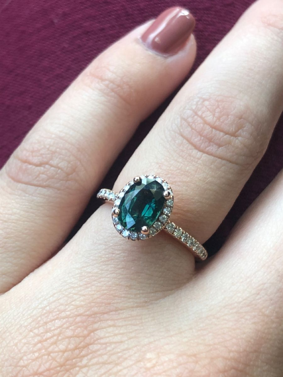 Teal Sapphire with rose gold engagement ring in 2020