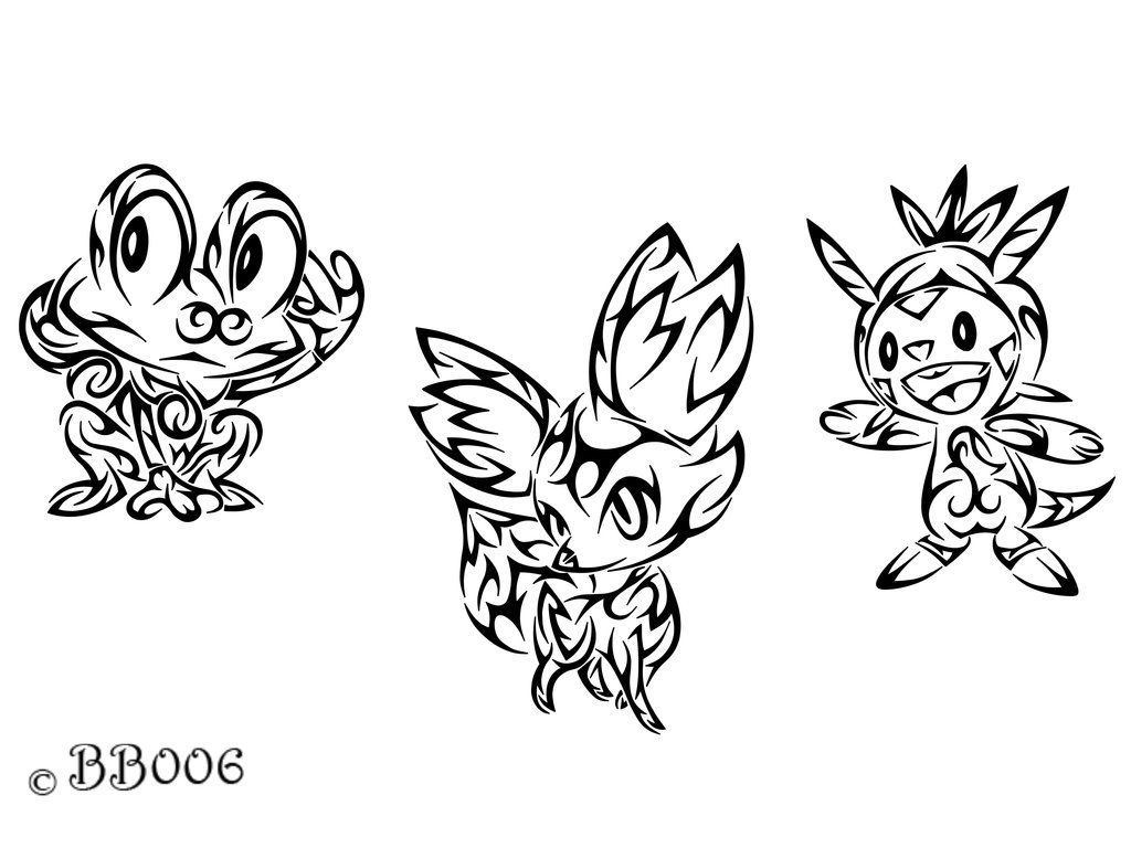 Pokemon coloring pages x and y - Tribal Starter Pokemon X Y By Blackbutterfly006 Deviantart Com On Deviantart