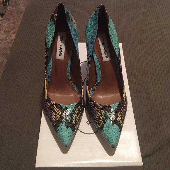 28d710d28ed2 Brand new Steve Madden snake skin Proto heels Made in Brazil multi color  snake skin . Steve Madden Shoes Heels