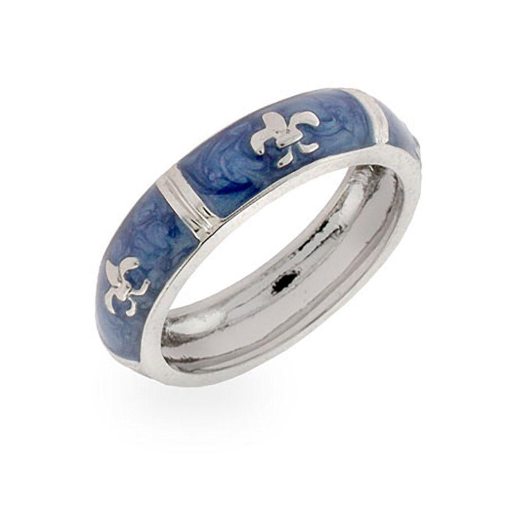 Designer Inspired Fleur De Lis Blue Enamel Ring Sterling silver