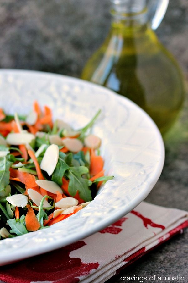 Arugula Salad with Shaved Carrots, Shaved Asparagus and Slivered Almonds   Simple, elegant and delicious!