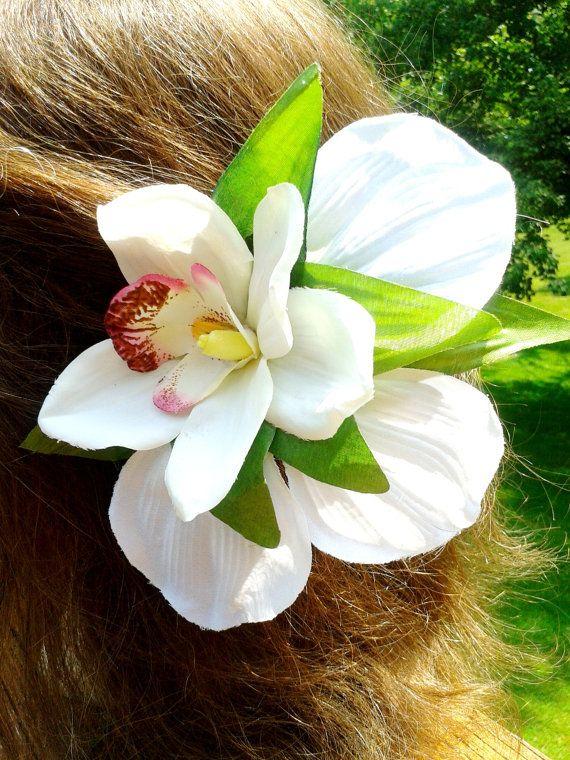"3.5/"" Red Double Cymbidium Orchid Flower Hair Clip Luau Wedding Cruise Party"