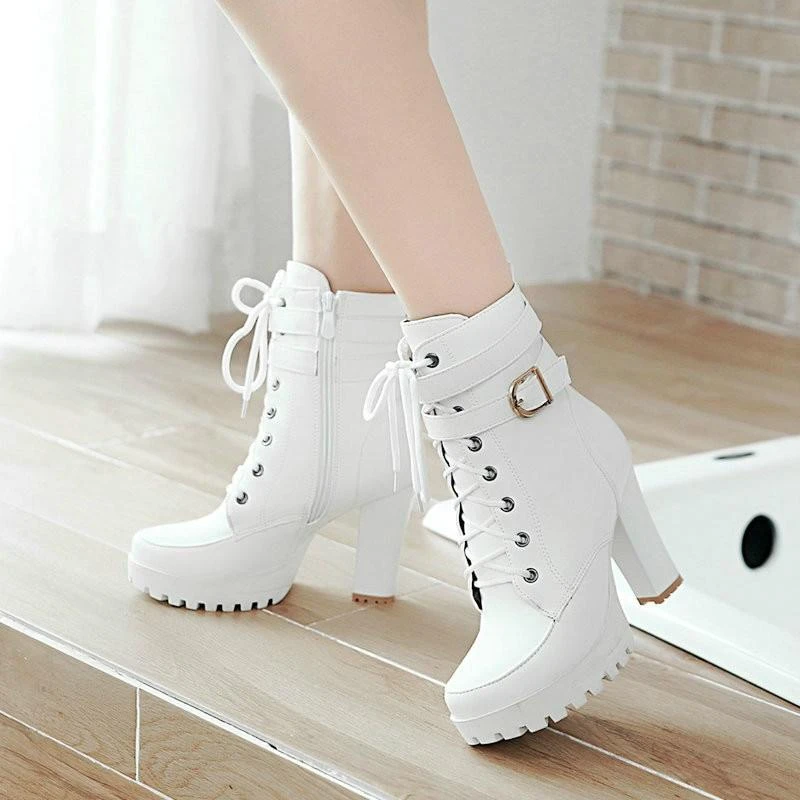 Women Ankle Boots Sexy High Heels Lace Up Fashion Platform Boots
