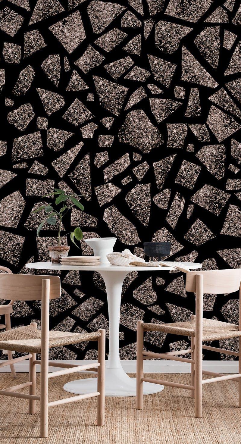 Terrazzo Rose Gold Glitter 1 Wallpaper From Happywall Com Rose Gold Glitter Terrazzo Peel And Stick Wallpaper