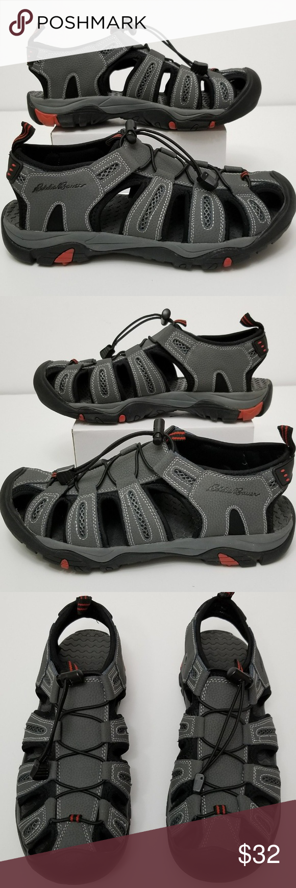 866b60fa1e4b Eddie Bauer Grey Fisherman Bump toe Cinch Sandals   PRICE IS FIRM   Pre