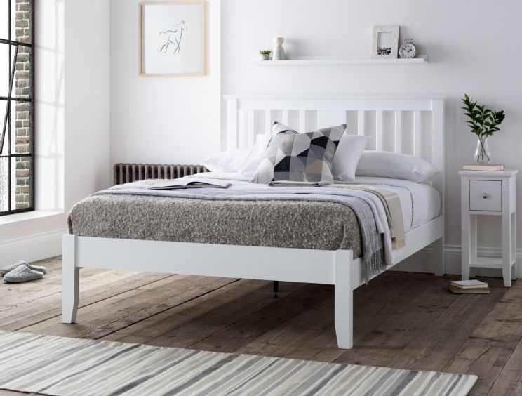 Malmo White Wooden Bed Frame In 2020 White Wooden Bed White