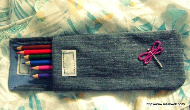 Old denim pencil case