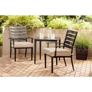 Hampton Bay Marshall 3 Piece Patio Bistro Set With Textured Silver Pebble Cushions Hd14300 The Home Depot