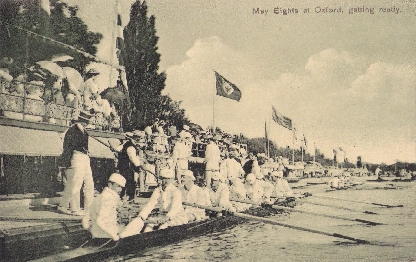 Oxfordshire postcard MAY EIGHTS AT OXFORD, GETTING READY 1922 by Emberlin & Son | eBay